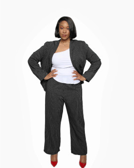 Black and white boot leg pinstripe pants