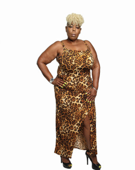 Leopard fitted faux wrap maxi dress