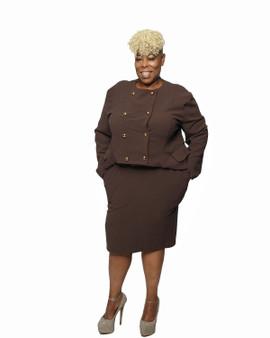 Brown a line hem jacket