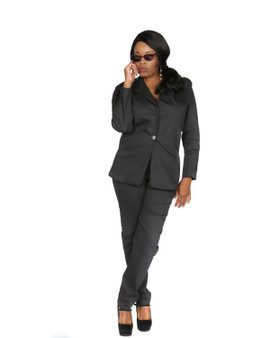 Charcoal grey one button front blazer