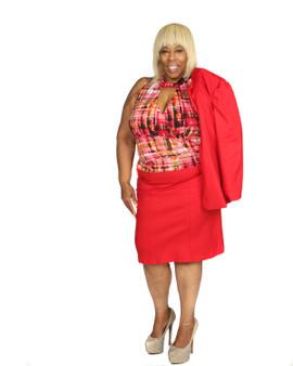 Red hot  knee  length skirt