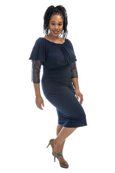 Navy blue ITY and sequin dress
