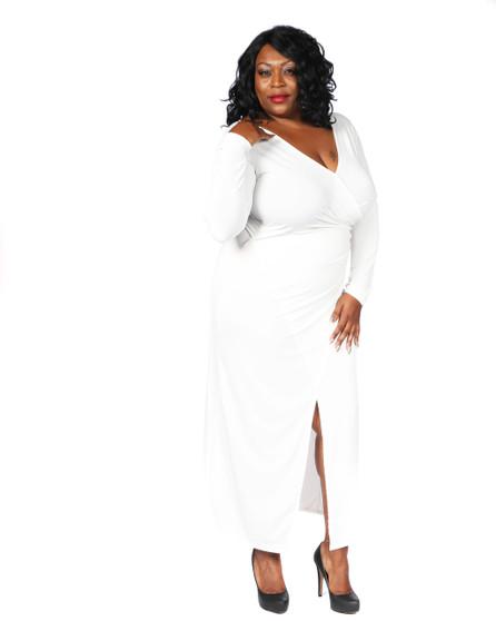 Off white faux wrap maxi ambassador dress with tie belt