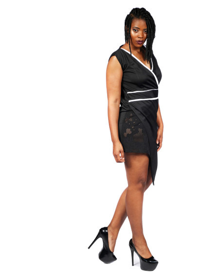 Black and white piped wrap front dress with side lace insert
