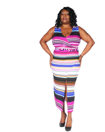 multi color ambassador faux wrap maxi dress