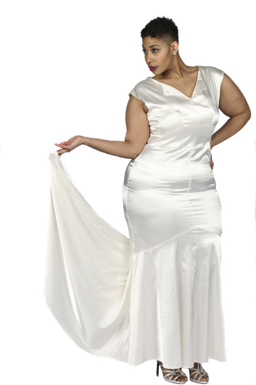 Off white stretch satin gown, fitted through hips
