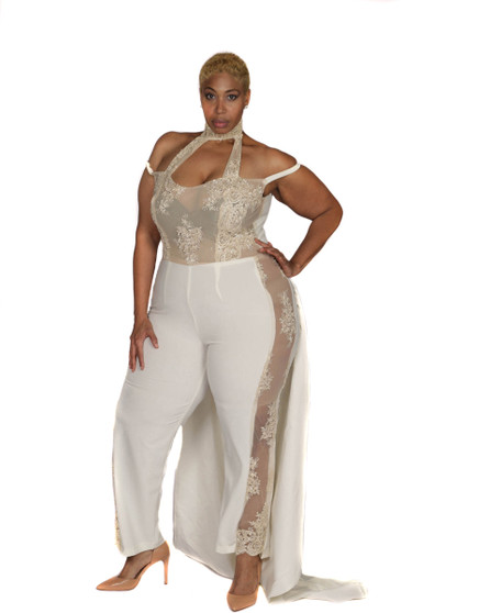Crème and nude lace jumpsuit with attached train