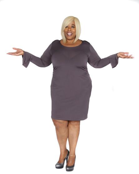 Steel grey long sleeves ITY dress