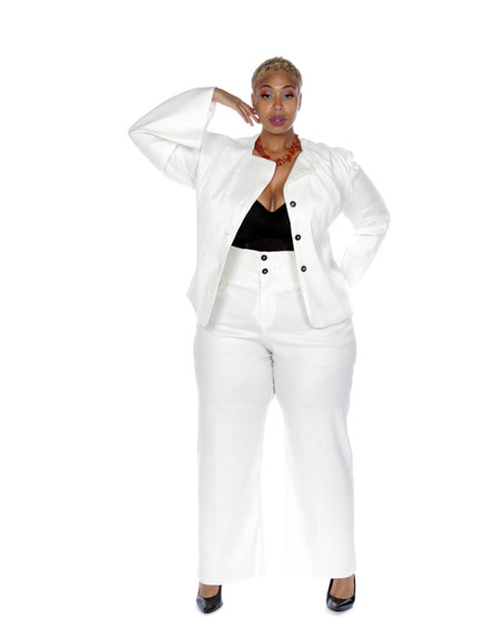 Crème 2pc stretch linen high waist corset pants and jacket