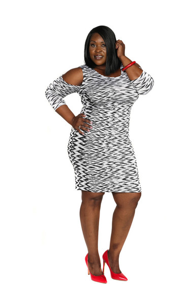 Black, white and grey fitted cold shoulder dress