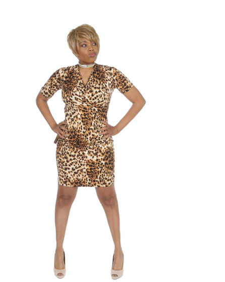 Leopard fitted faux wrap ambassador dress