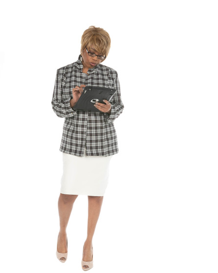 2pc Black multi plaid jacket and skirt (Power 5 Collection)