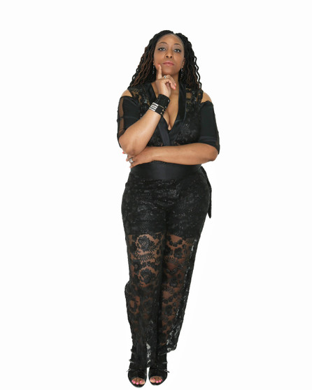 Black beaded sequin and satin jumpsuit with attached shorts(Special order only)