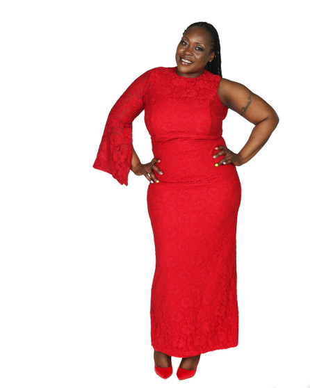 Red Lace overlay one sleeve evening gown(Special order only)