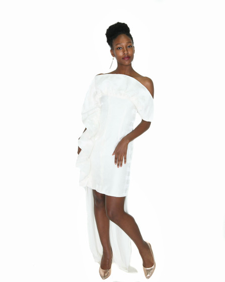 Off white ruffle front high low gown(Special order only)
