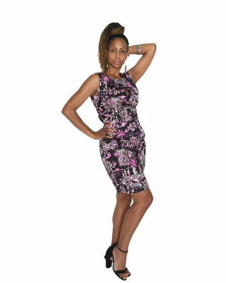 Black multi print dress