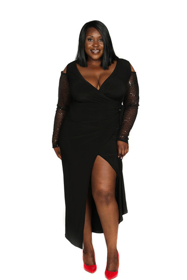 Black ITY and sequin cold shoulder sleeve faux wrap ambassador gown