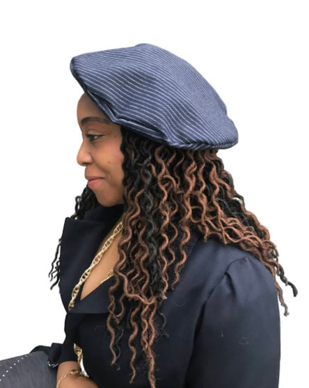 J- Beret Navy Blue and White Pinstriped