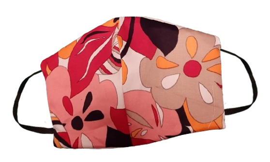 Cotton Face Mask  Orange Multi Color Reversible White- Built in fabric filter Polypropylene