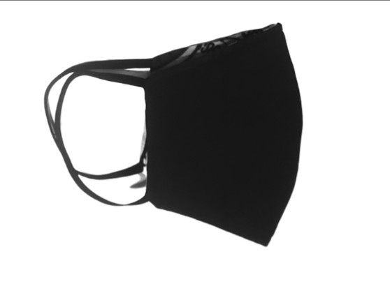 Cotton Face Mask Charcoal grey/black reversible navy blue - Built in Fabric Filter Polypropylene
