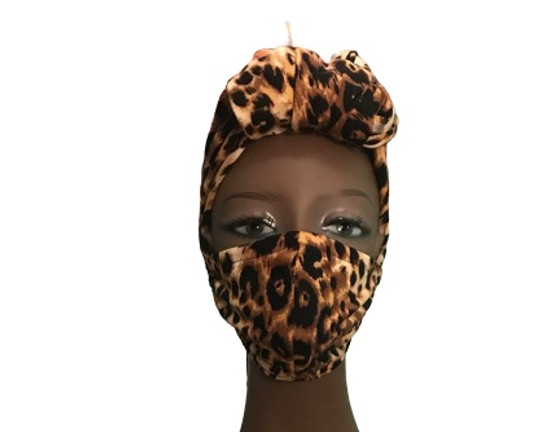Cotton Face Leopard Print Mask and Head Wrap with Built in Fabric Filter Polypropylene