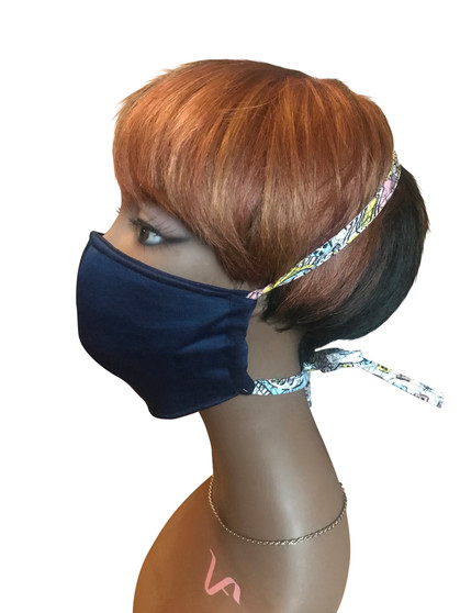 Navy blue and multi color drawstring Cotton Face Mask with Polypropylene built in Fabric filter