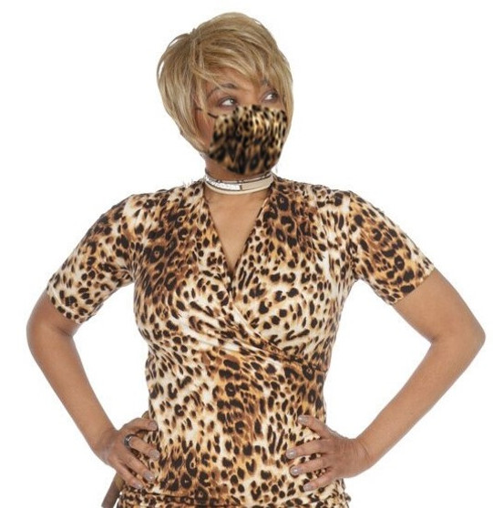 Leopard Cotton Face Mask  Reversible and Built in Polypropylene Fabric Filter