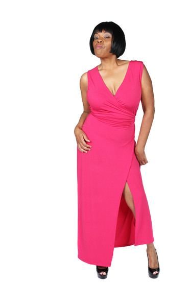 Fuschia pink faux wrap maxi ambassador dress