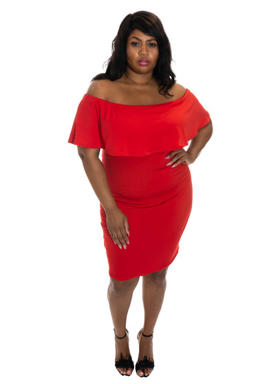 Red ITY Fitted Off The Shoulder Dress