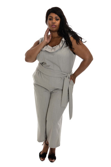 Grey and Pink Pinstripe Jumpsuit