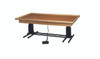 "wooden platform table - deluxe electric hi-low, raised-rim, 7' x 5' x (23"" - 32"")"