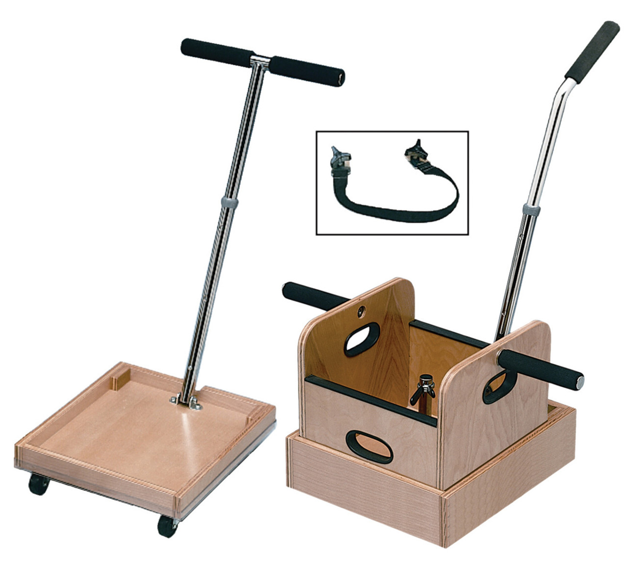 FCE Work Device - Mobile Weighted cart with T-handle, accessory box, and sled with straight handle