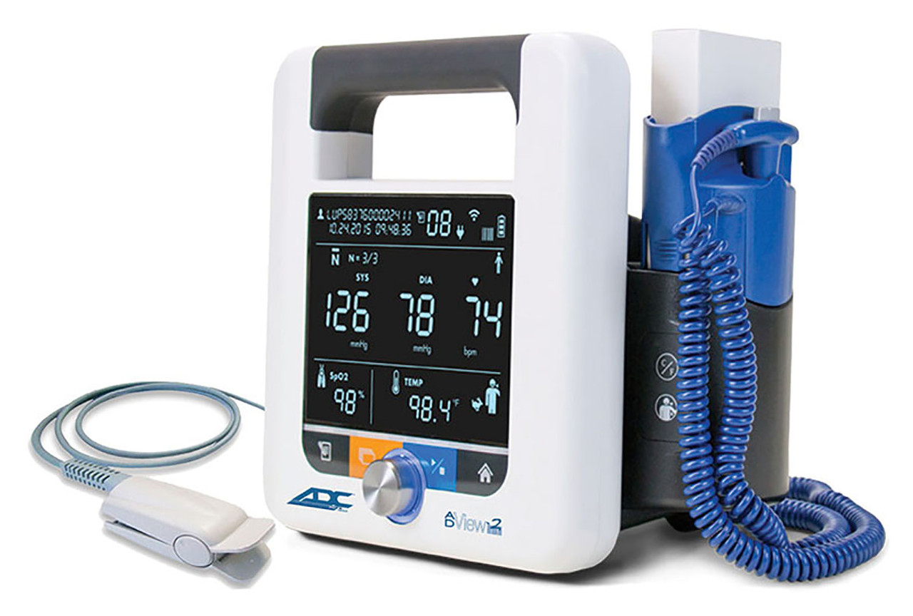 ADC AdView 2 Diagnostic Station, w/ Blood Pressure, Pulse Oximetry, and Temperature Modules