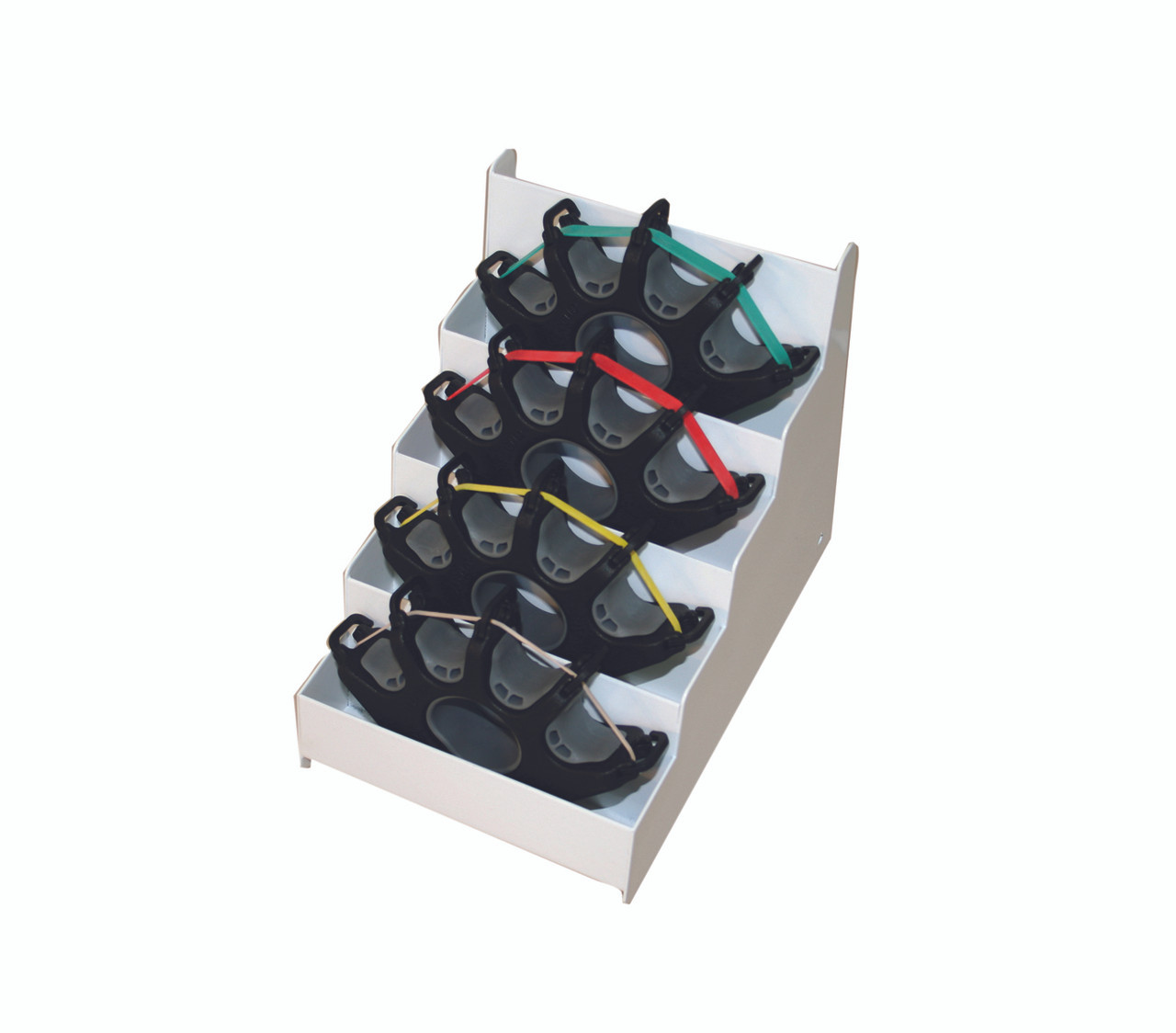 CanDo¨ Digi-Extend¨ Hand Exerciser - 4 exercises with 64 bands (16 each: tan, yellow, red, green), metal rack