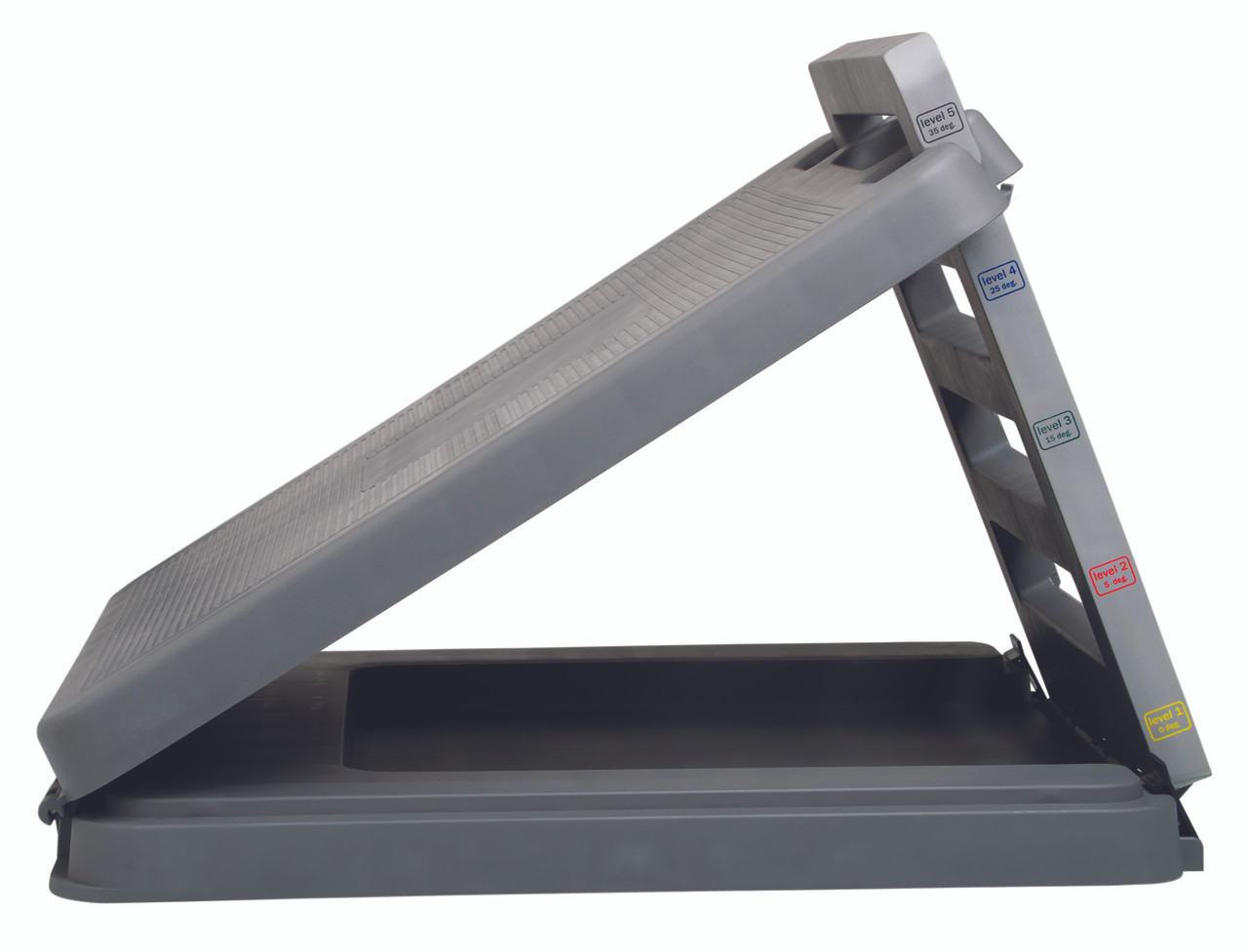 """FabStretch¨ 4-Level Incline Board - Heavy Duty Plastic - 5, 15, 25, 35 Degree Elevation - 14"""" x 14"""" Surface"""