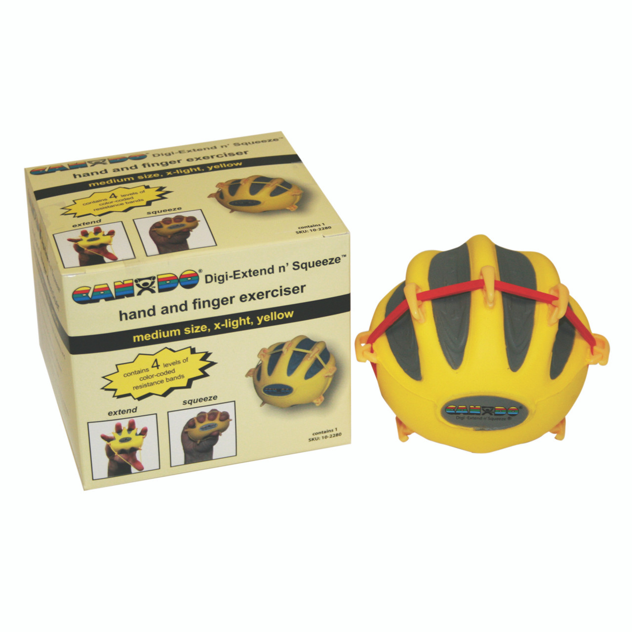 CanDo¨ Digi-Extend n' Squeeze¨ Hand Exerciser - Large - Yellow, x-light