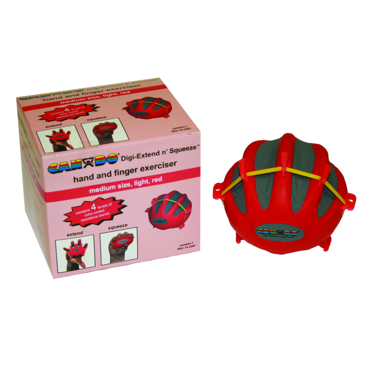 CanDo¨ Digi-Extend n' Squeeze¨ Hand Exerciser - Large - Red, light