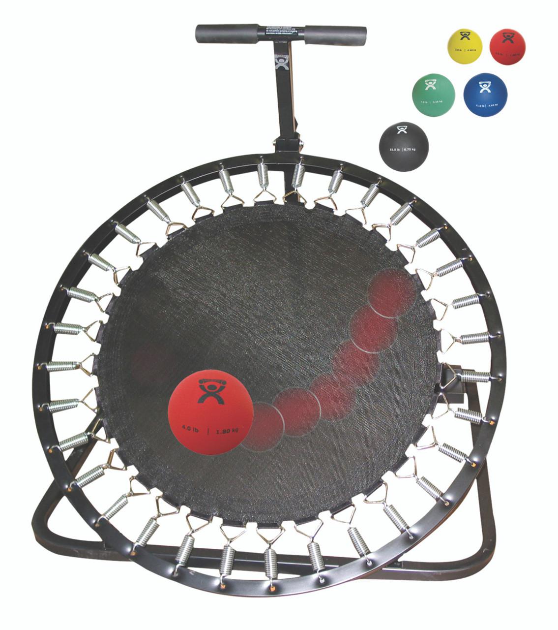 Adjustable Ball Rebounder - Set with Circular Rebounder, 1-tier Horizontal Plastic Rack, 5-balls (1 each: 2,4,7,11,15 lb)