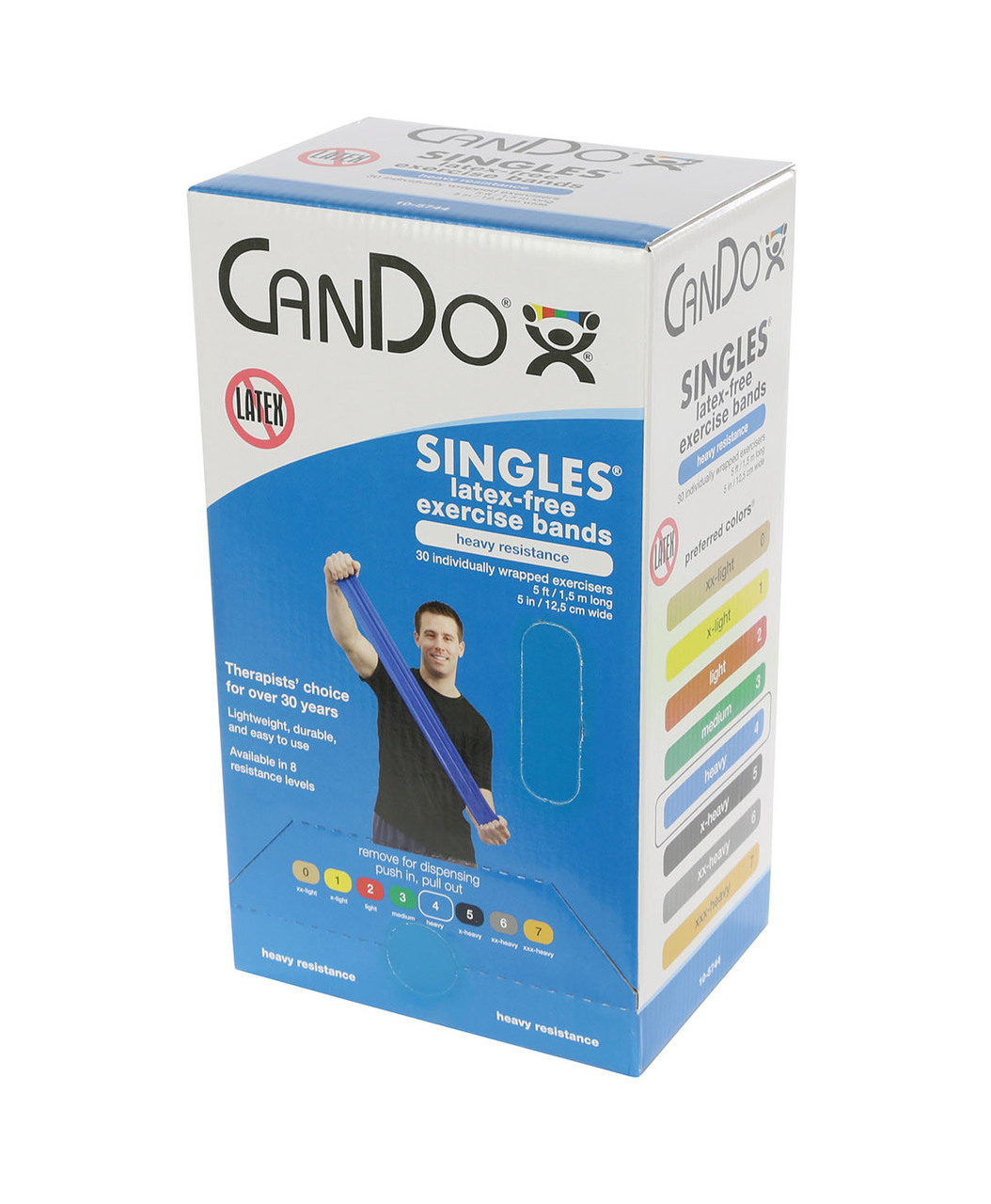 CanDo Latex Free Exercise Band box of 30, 5' length Blue heavy