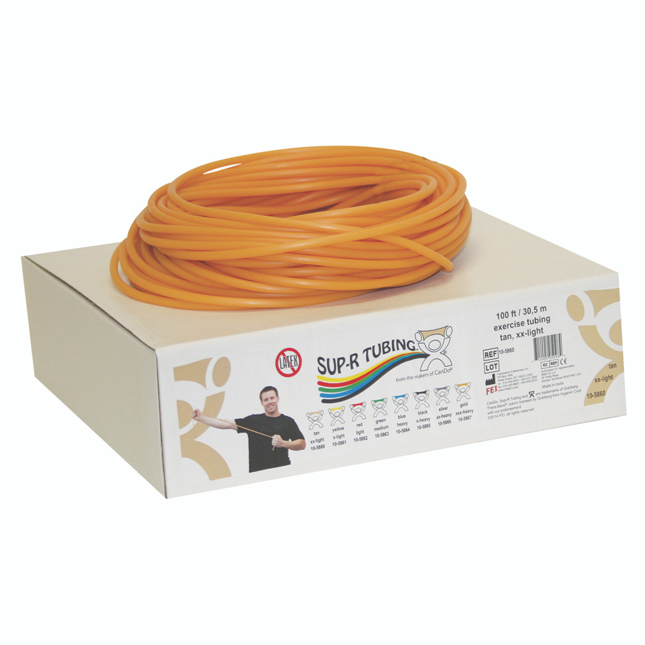 Sup-R Tubing¨ - Latex Free Exercise Tubing - 100' dispenser roll - Tan - xx-light
