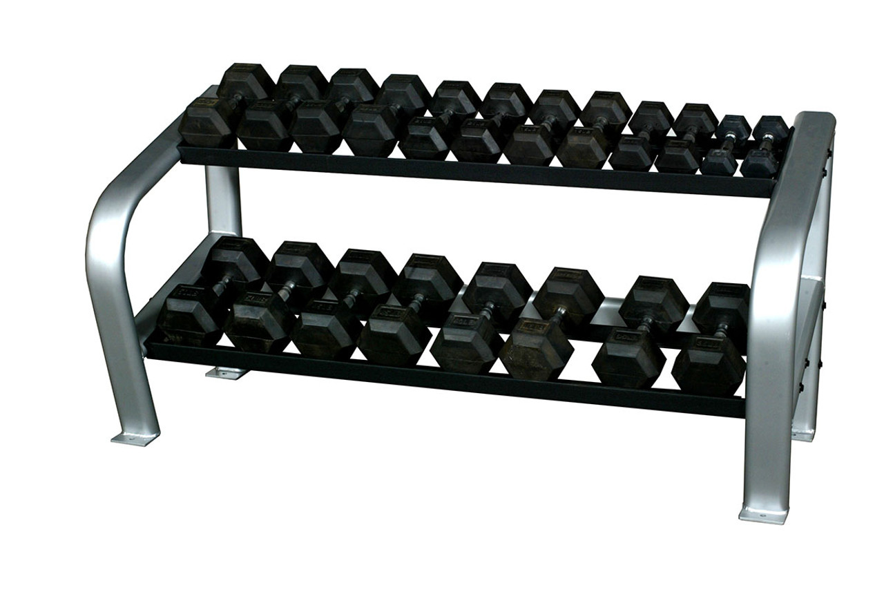 """Inflight 65"""" Deluxe 2-Tier Hex DB Rack (2 x 4 Oval Tubing) with a 10 Pair (5- 50lb) Rubber Hex Dumbbell Set"""