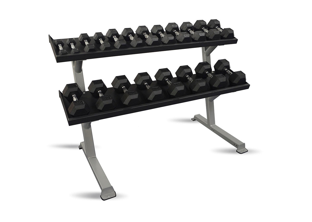 "Inflight 69"" 2-Tier DB Rack - Tray Style (69"" Trays) with a 10 Pair (5-50lb) Rubber Hex Dumbbell Set"