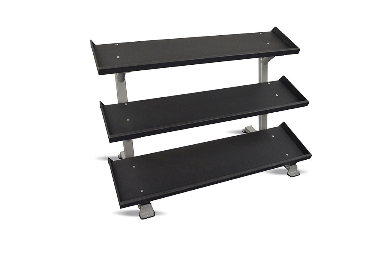 "Inflight 54"" 3-Tier DB Rack - Tray Style (54"" Trays) with a 10 Pair (5-50lb) Rubber Hex Dumbbell Set"