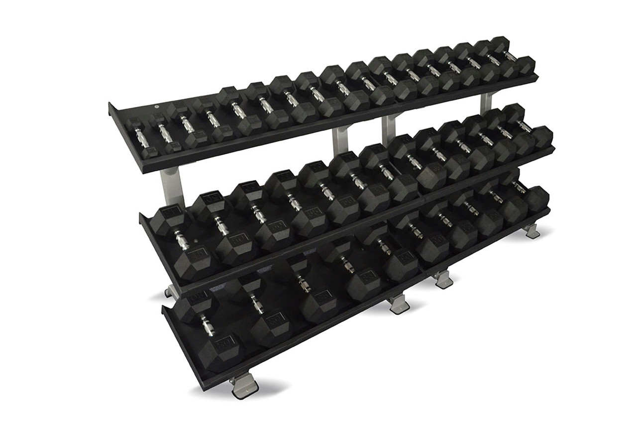 """Inflight 108"""" MEGA 3-Tier DB Rack - (Two 54"""" 3-Tray Racks) with a 20 Pair (5-100lb) Rubber Hex Dumbbell Set"""