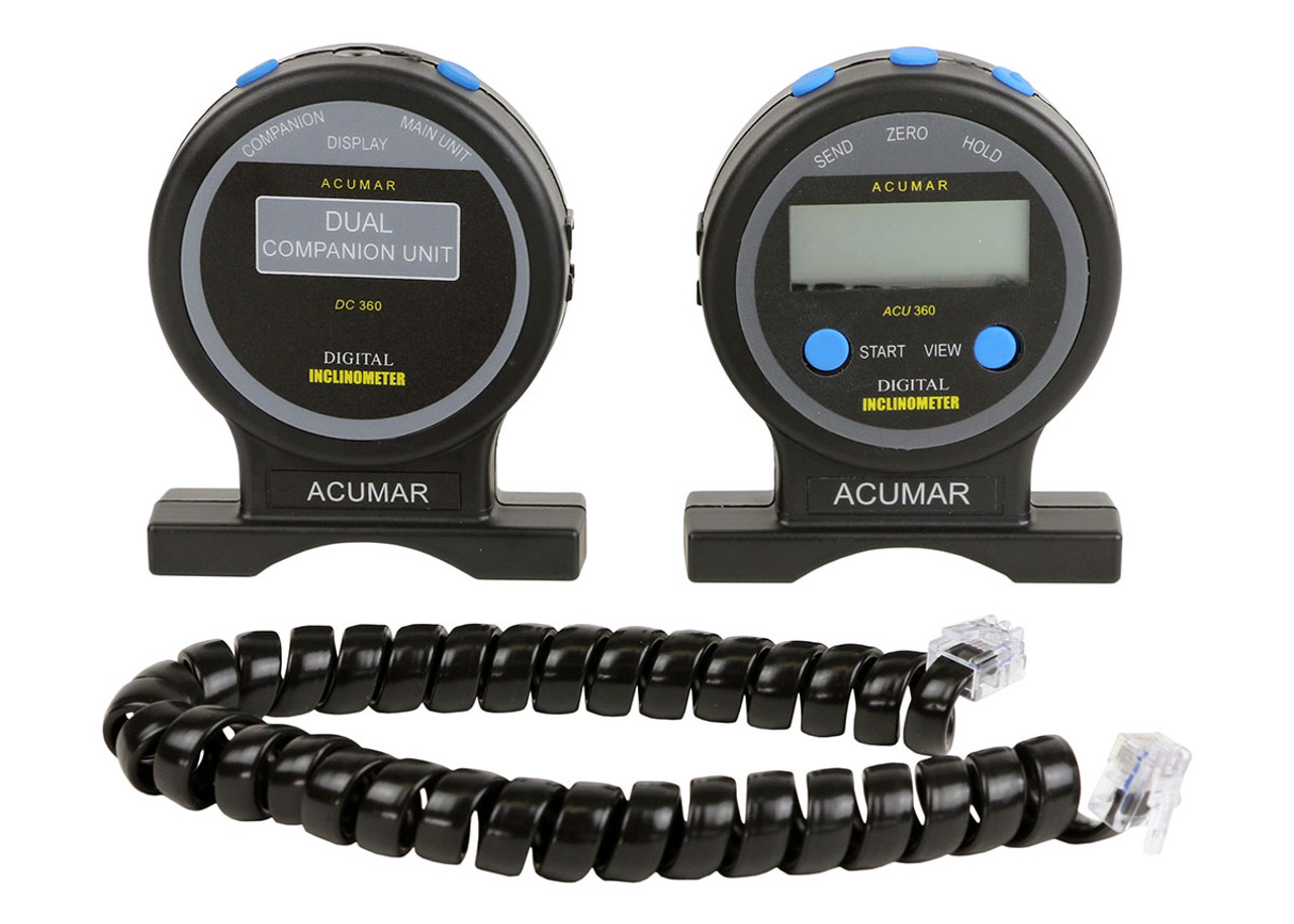 Acumar inclinometer - 4-piece Set - Dual Inclinometer with Ruler and Wireless Interface