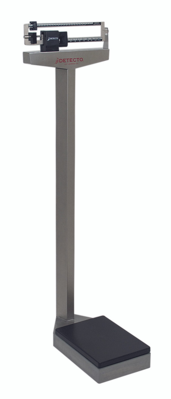 Detecto¨ Eye-level scale - 338 Mobile Analog Beam Scale 400 lb / 175 kg - with Height Rod and Wheels