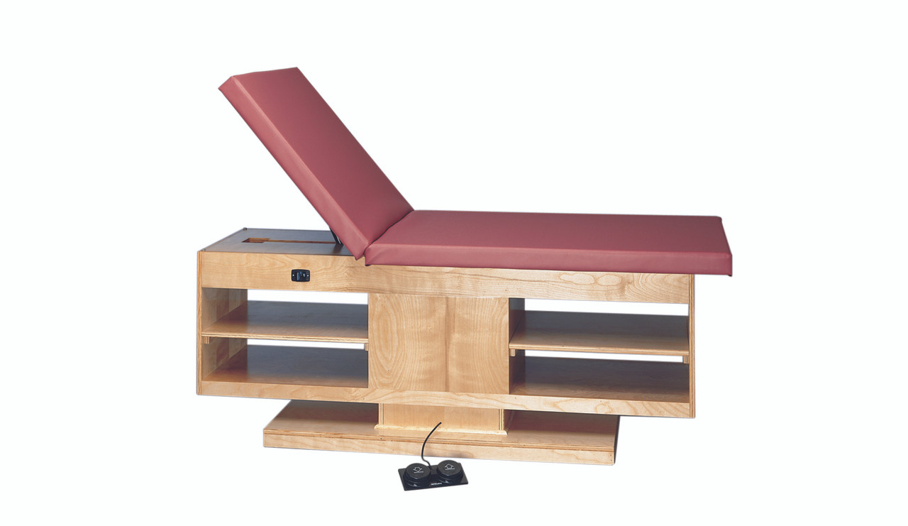 """wooden treatment table - electric hi-low, shelves, upholstered, 78"""" L x 30"""" W x 27"""" - 39"""" H, 2-section"""