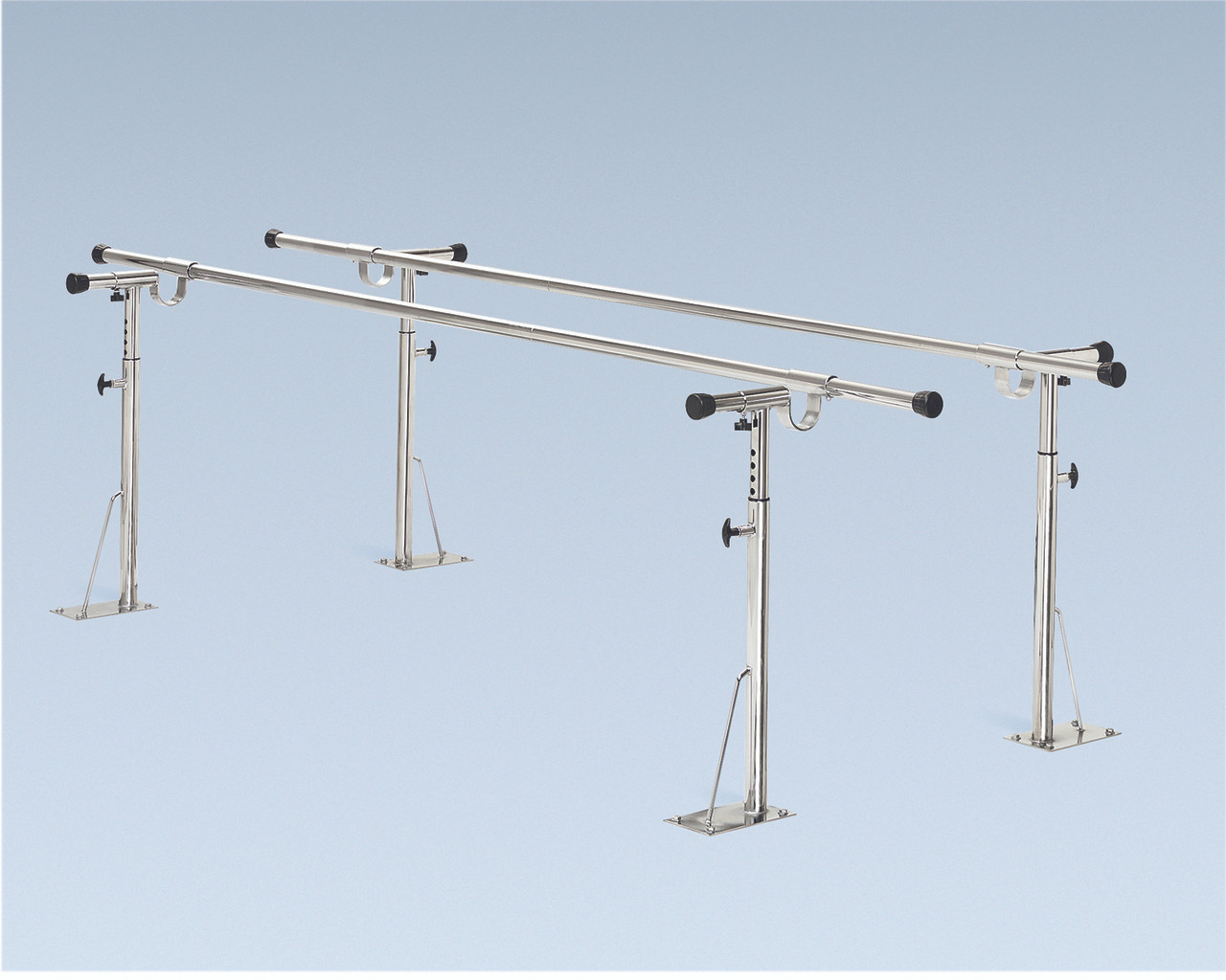 """Parallel Bars, floor mounted, height and width adjustable, 12' L x 6"""" W x 26"""" - 44"""" H"""