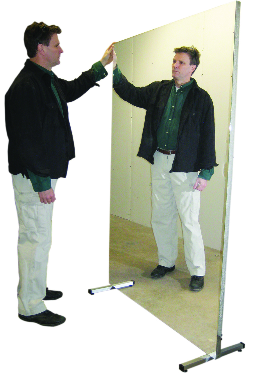 """Glassless mirror, stationary with stand, vertical, 60"""" W x 72"""" H"""