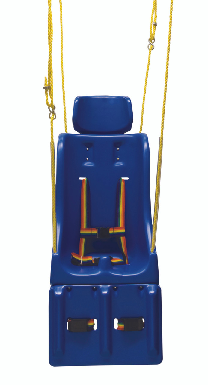 Full support swing seat with pommel, head and leg rest, medium (teenager), with rope